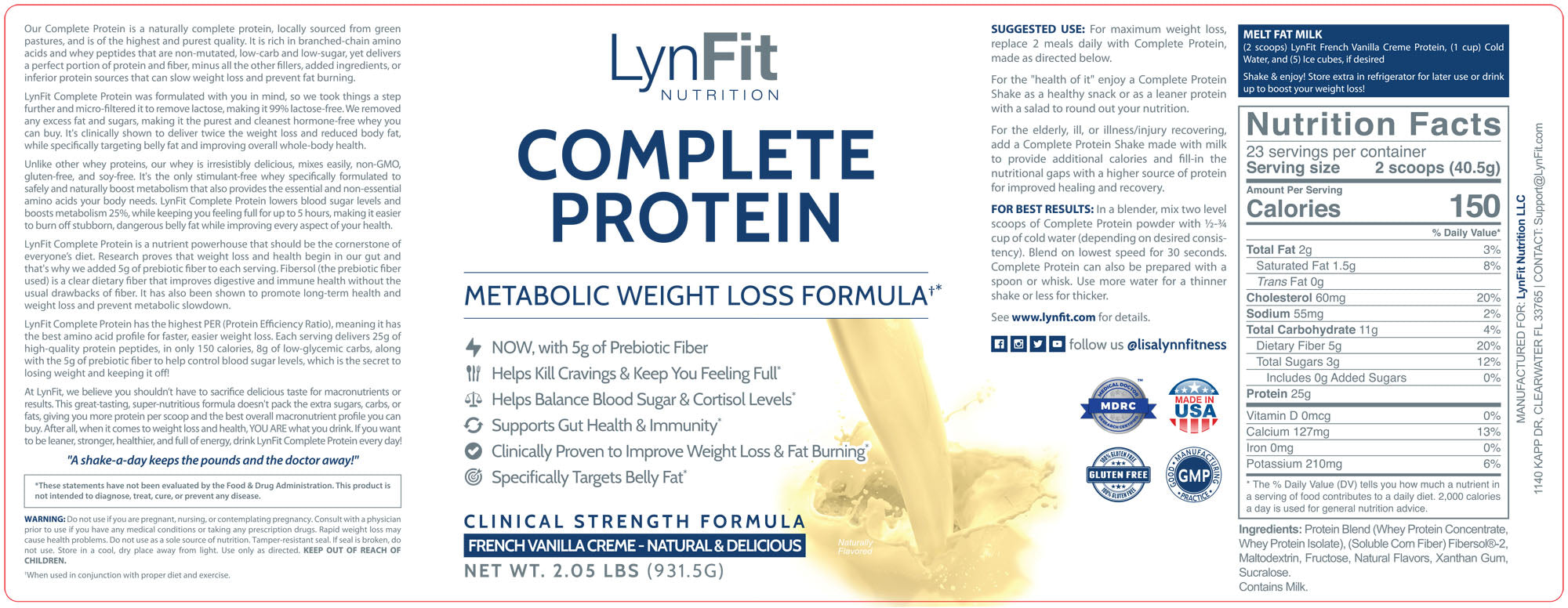 LynFit Nutrition French Vanilla Creme Complete Protein