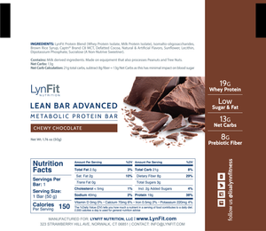 Lean Bars (12) - The Protein Bar for Weight Loss with Prebiotics