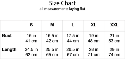 très chic tee size chart