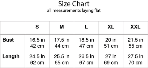 retail therapist tee size chart