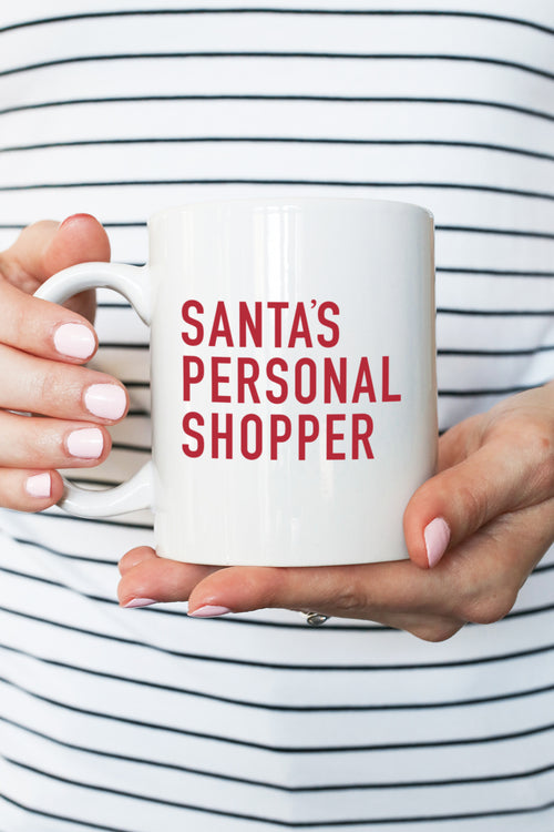 santa's personal shopper christmas mug kelly elizabeth designs