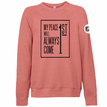 "Load image into Gallery viewer, ""Peace First"" Crewneck Sweatshirt"