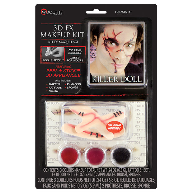 Killer Doll 3D FX Makeup Kit (Peel & Stick)