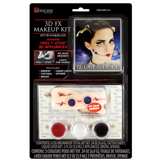 Broken Doll 3D FX Makeup Kit (Peel & Stick)