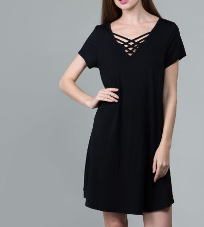 Maria Cross Strap T Shirt Dress - Coffee Clothing Company