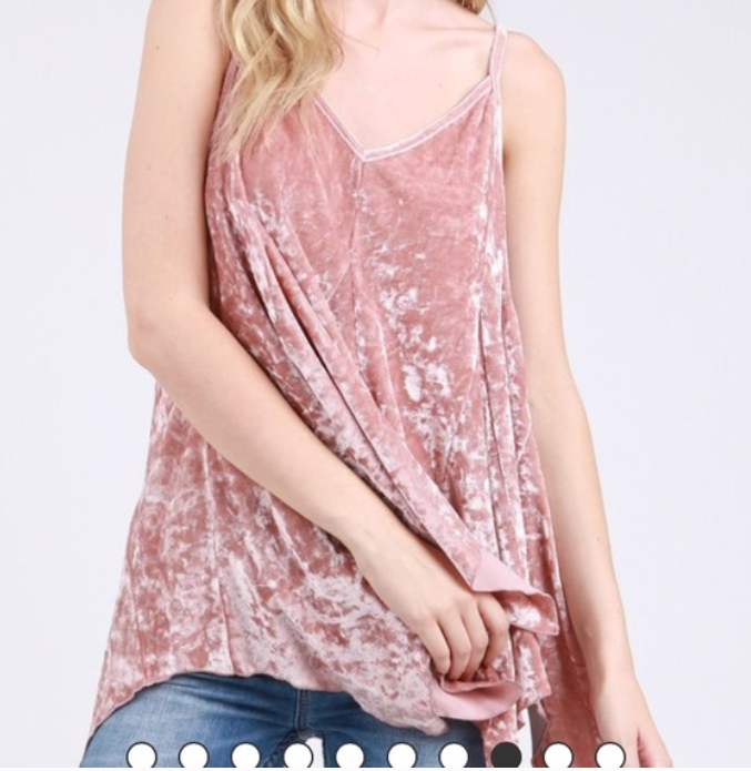 Blush Crushed Velvet Tank Top with Caged Side Details - Coffee Clothing Company