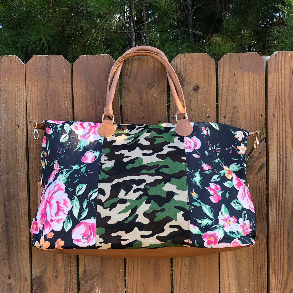 Floral and Camo Print Canvas Weekender Bag - Coffee Clothing Company