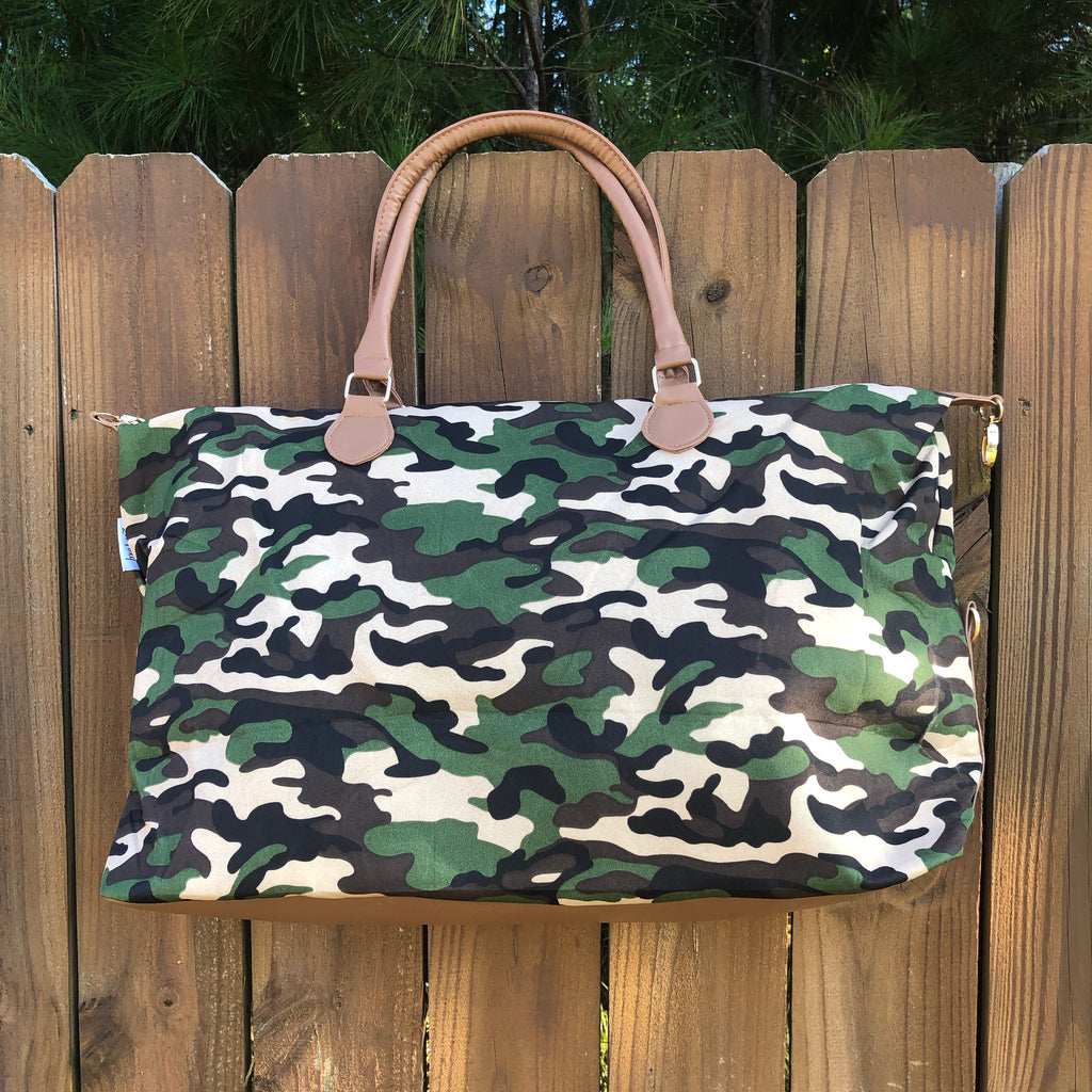Camo Canvas Print Weekender Bag - Coffee Clothing Company