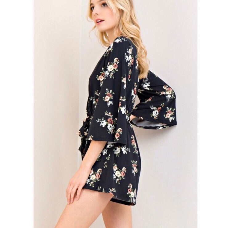 Emma Bell Sleeve Romper - Coffee Clothing Company