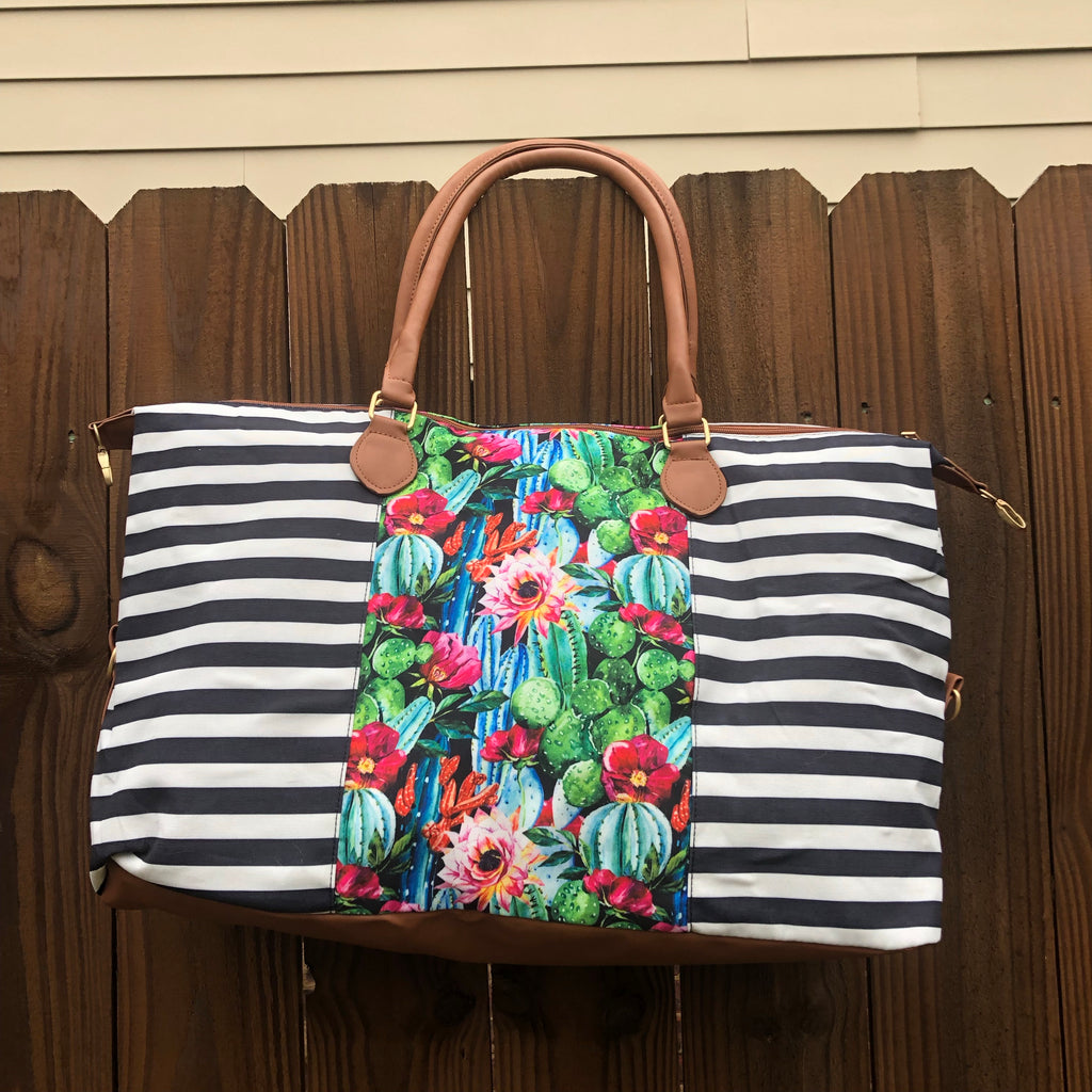 Stripe and Cactus Print Canvas Weekender Bag - Coffee Clothing Company