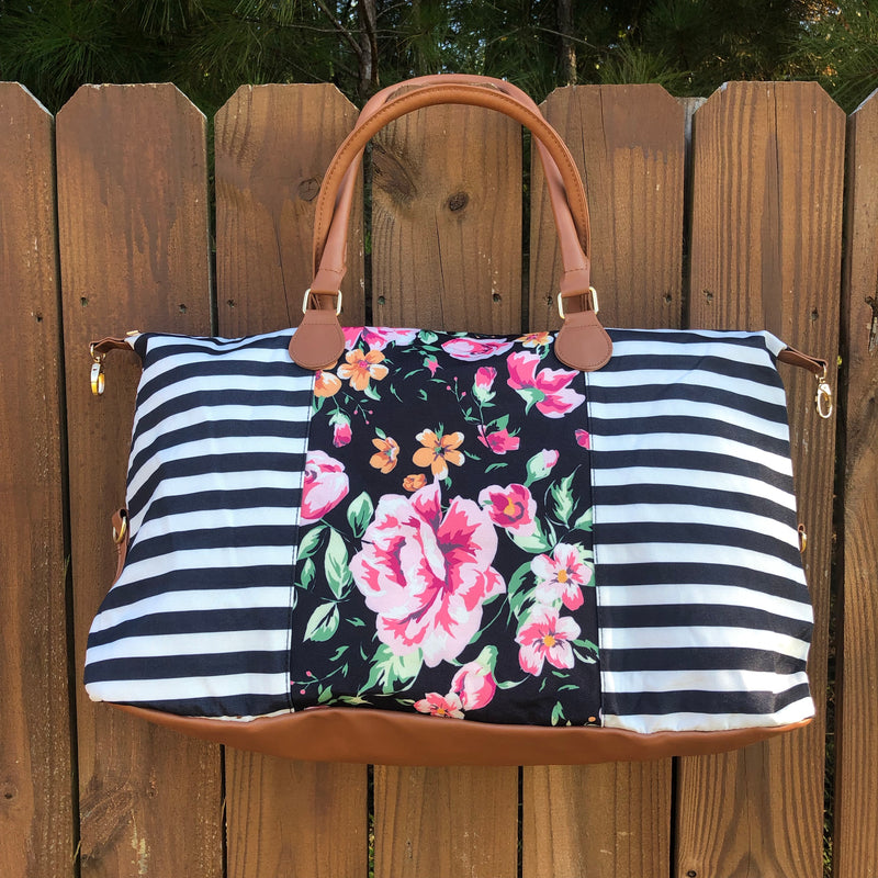 Stripe and Floral Canvas Print Weekender Bag - Coffee Clothing Company