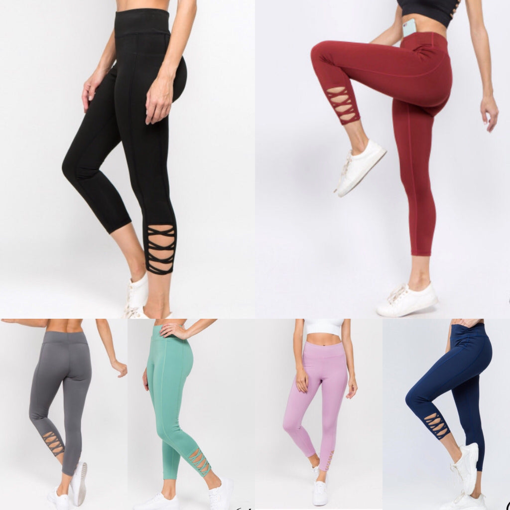 3/4 Length Cross Cropped Legging - Coffee Clothing Company