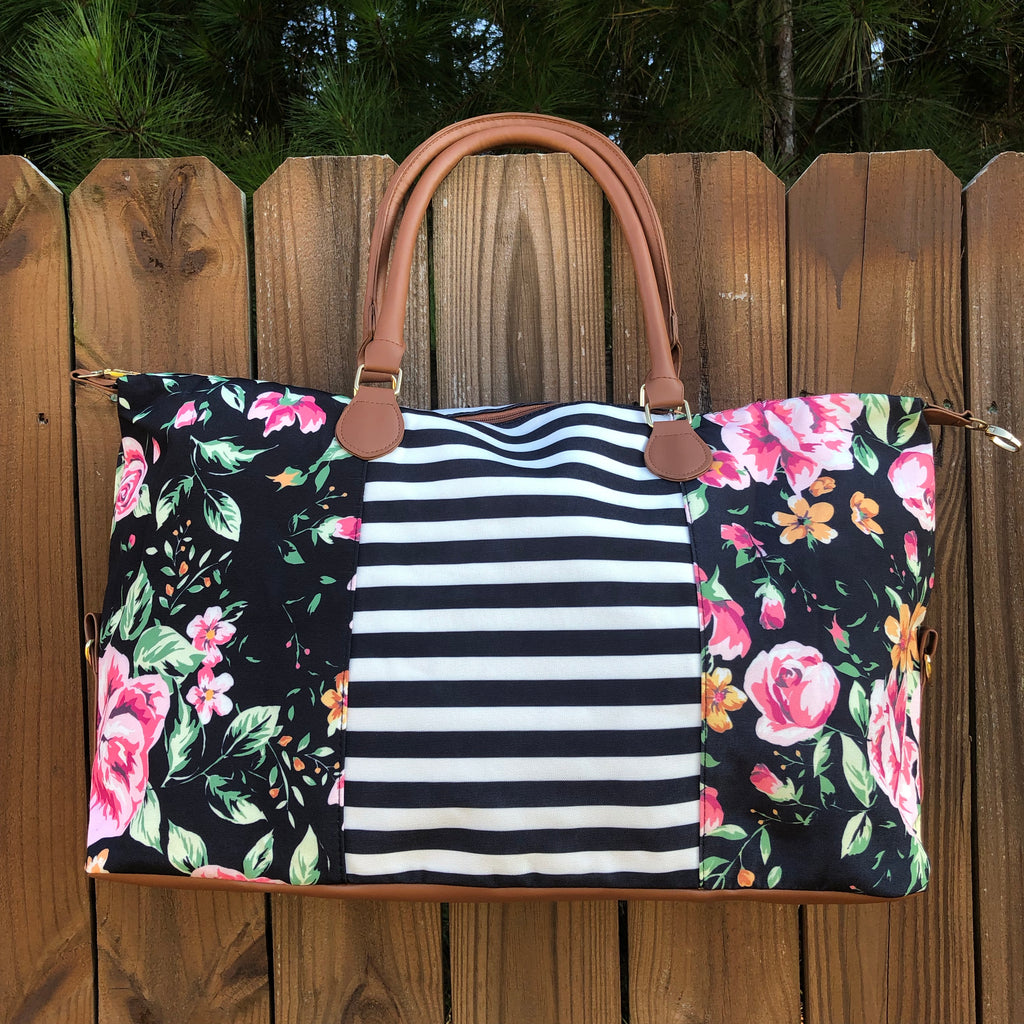 Floral and Stripe Canvas Print Weekender Bag - Coffee Clothing Company