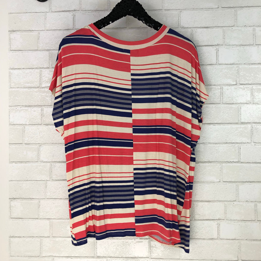 Andrea Striped Twist Front Tee - Coffee Clothing Company