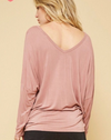 Dusty Mauve Dolman Sleeve Top with Cross Strap Details on Front - Coffee Clothing Company