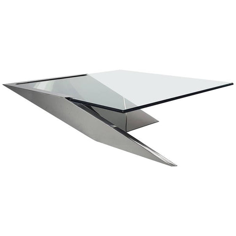 "Brueton Cantilevered Stainless Steel ""SMT"" Coffee Table by J. Wade Beam"