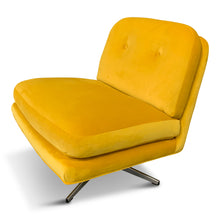 Load image into Gallery viewer, Mid Century Swivel Chair in Marigold Velvet