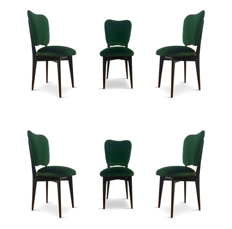 Italian Dining Chairs in the Style of Ico Parisi Set of Six Mid Century