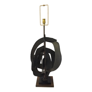 1960's Harry Balmer for Laurel Brutalist Torch Cut Table Lamp