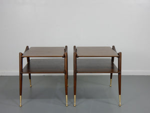 Ico Parisi Inspired Mahogany Tiered Side Tables