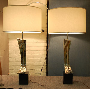 Sculptural Chromed Table Lamps by Maurizio Tempestini for Laurel Lighting Co.