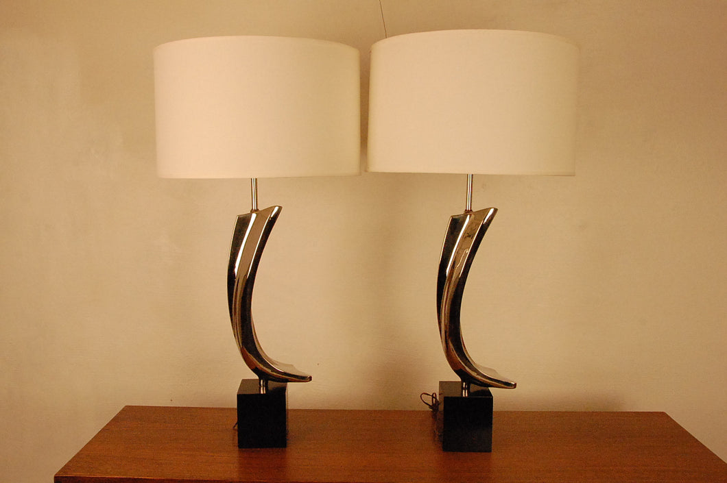 Laurel Lighting Co. Sculptural Chromed Table Lamps by Maurizio Tempestini