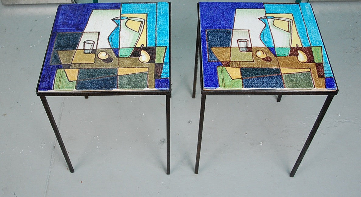 Pair Italian Raymor Tile Side Tables Hand Painted with Iron Bases
