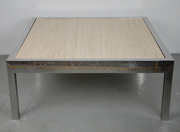 Milo Baughman Travertine and Chrome Coffee Table