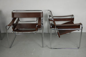 Classic Pair of 1977 Dark Chocolate Marcel Breuer Wassily Chairs for Knoll
