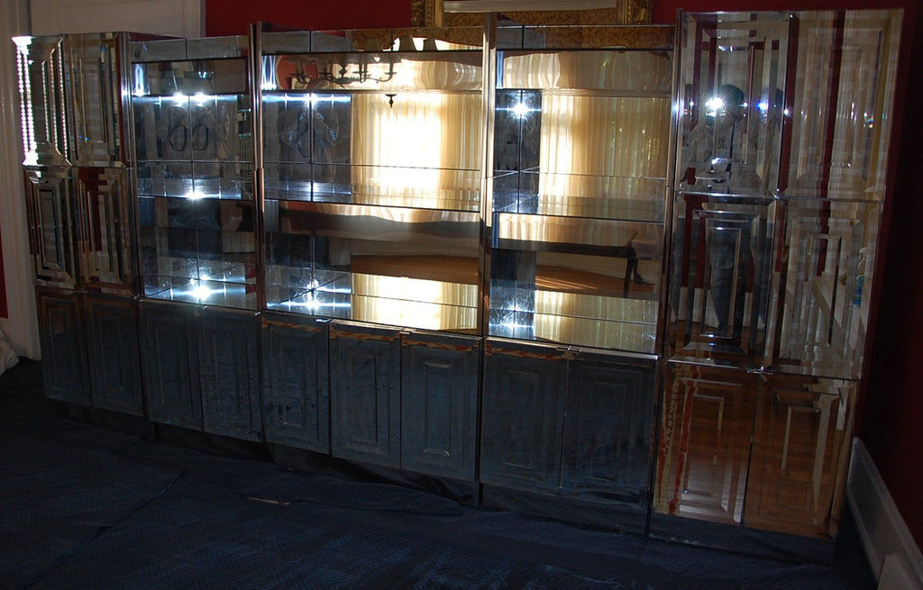 Ello Mirrored Down Lighted Wall Unit With Stainless Steel