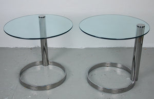 Pace Collection Pair of Chrome and Glass Side Tables