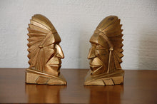 Load image into Gallery viewer, Art Deco American Indian Chief Geometric Bookends