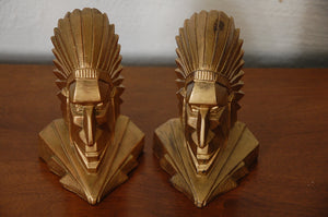 Art Deco American Indian Chief Geometric Bookends