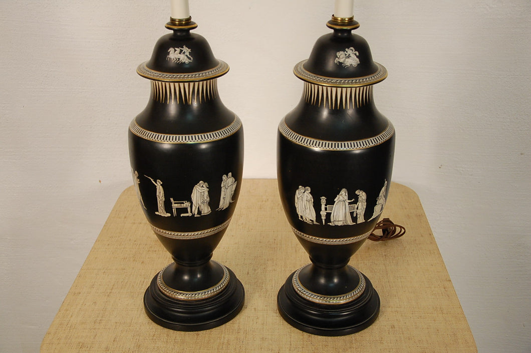 Wedgewood Style Pair of Classical Urn Lamps