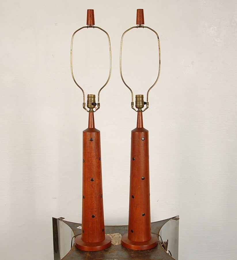 Martz Pair of Rare Red Mahogony and Ceramic Table Lamps