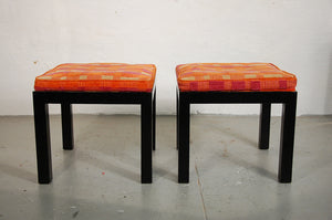 Directional Pair of Upholstered Parsons Style Stools