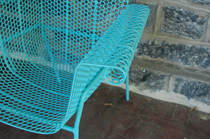 French Pair of Iron Patio Chairs Mid Century