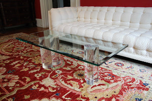 Karl Springer / Hollis Jones Style Lucite Column Coffee Table