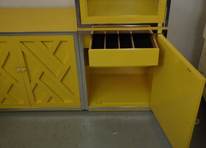 Set of 1970s Chippendale Cabinets with lucite pulls in Yellow w/Lighted Display