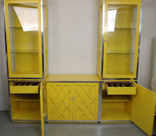 Load image into Gallery viewer, Set of 1970s Chippendale Cabinets with lucite pulls in Yellow w/Lighted Display