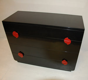 Modernage Black Lacquer Four Drawer Dresser