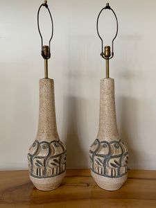 Raymor Ceramic Mid Century Lamp with Incised Birds in the Style of Aldo Londi