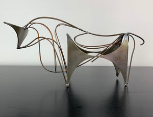 "Midcentury Wire and Stainless Steel Bull Sculpture Signed ""W"""