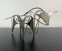 "Load image into Gallery viewer, Midcentury Wire and Stainless Steel Bull Sculpture Signed ""W"""