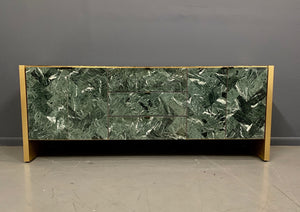 Ello Green Tessellated Marble and Brushed Brass Credenza