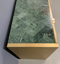 Load image into Gallery viewer, Ello Green Tessellated Marble and Brushed Brass Credenza