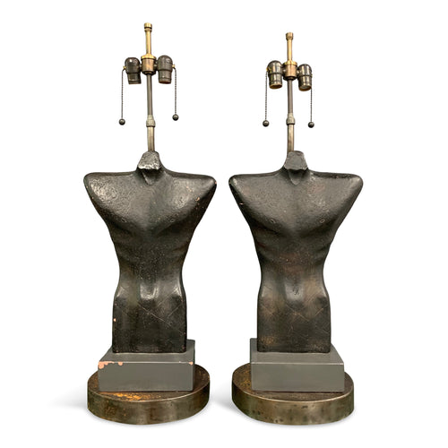Sculptural Ceramic Male Torso Lamps by Gwen Lux a Pair from 1948 Mid Century