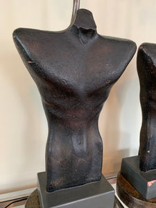 Gwen Lux Sculptural Ceramic Male Torso Lamp 1948 Mid Century