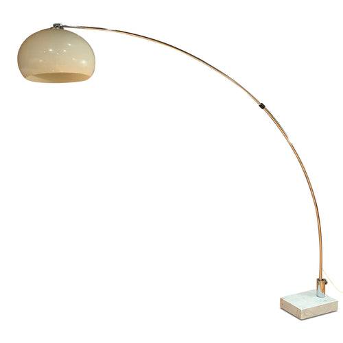 Midcentury Arc Floor Lamp in Chrome with Carrera Marble Base Guzzini Style