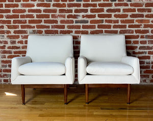 Pair of Jens Risom Walnut Lounge Chairs, 1953 Mid century